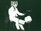monotype print of a drummer