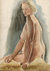 Watercolor painting of a seated female nude