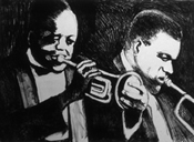 Lithograph of King Oliver and Satchmo