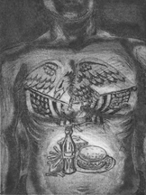 Etching of a tattooed man