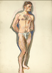 Watercolor painting of a standing male nude