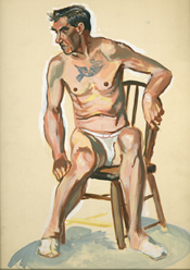 Watercolor painting of a seated male nude with a tattoo