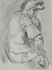 Student charcoal drawing of a Roman soldier