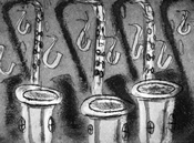Etching of three saxophones