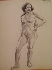 Student charcoal drawing of a standing female nude
