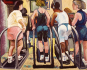 Painting of People in a Gym