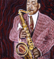 Painting of a saxophone player